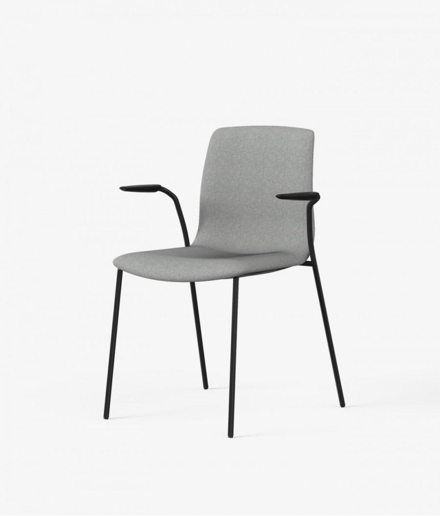 silla tapizada gris perspectiva