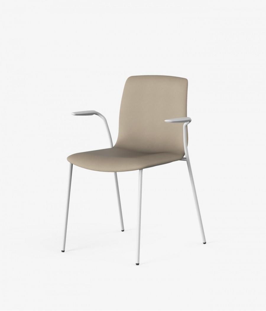 silla blanca tapizado beige perspectiva