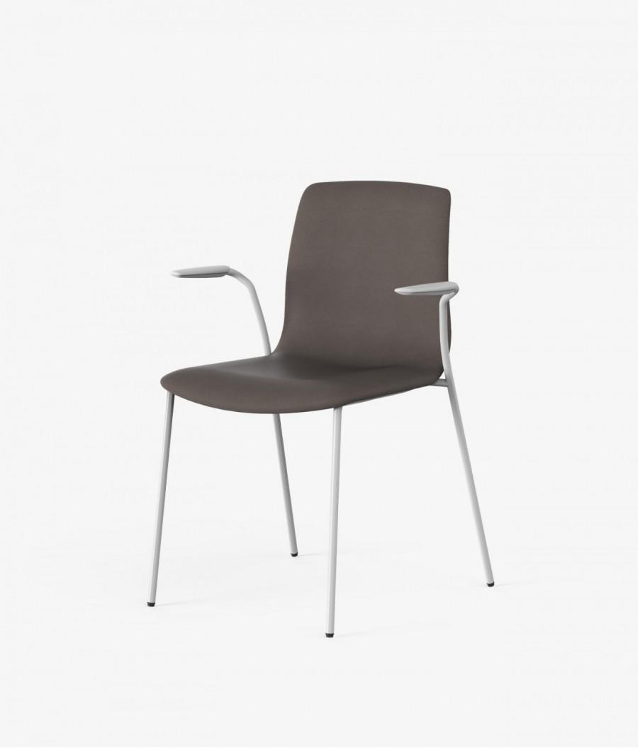 silla blanca tapizado marron perspectiva