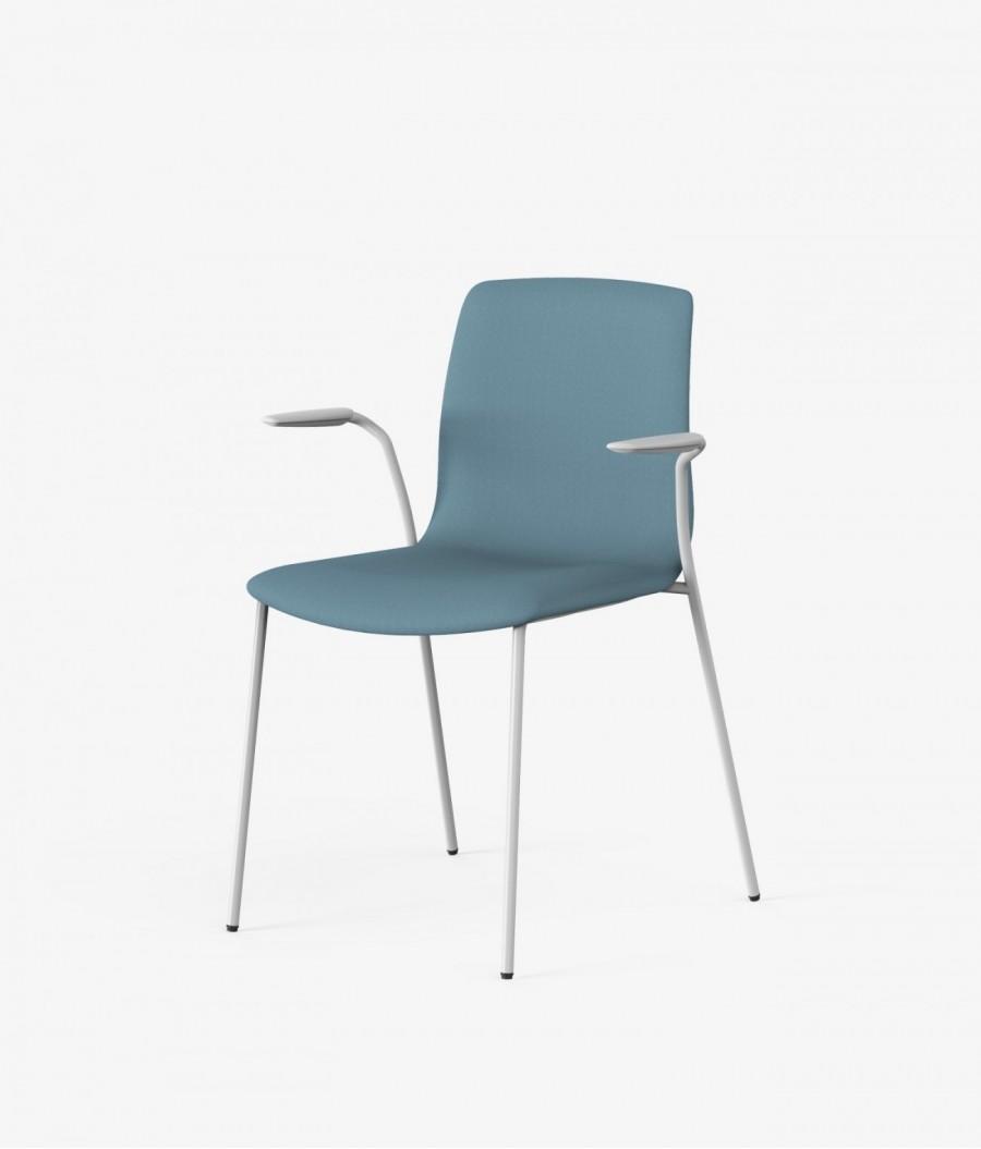 silla blanca tapizado azul perspectiva