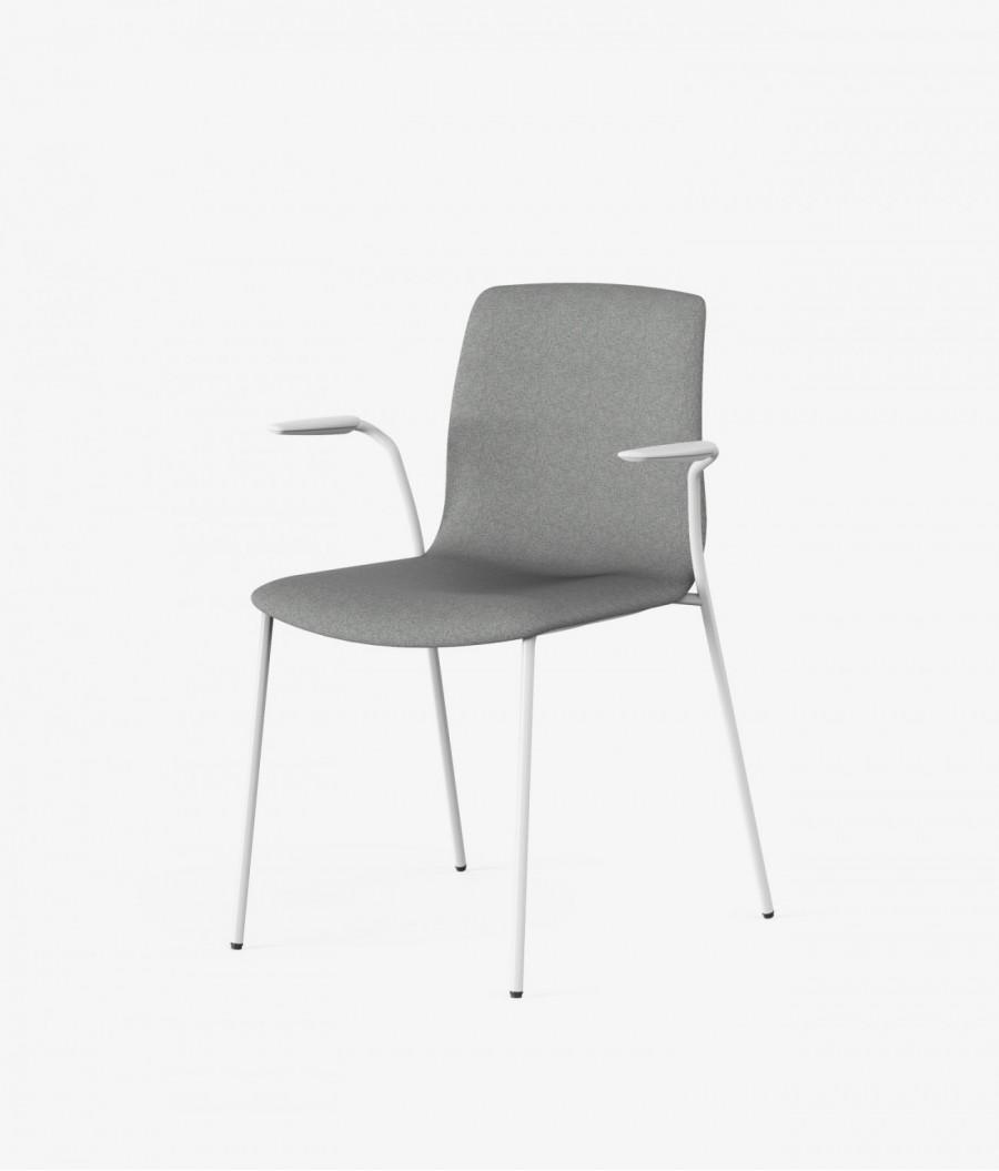 silla blanca tapizado gris perspectiva
