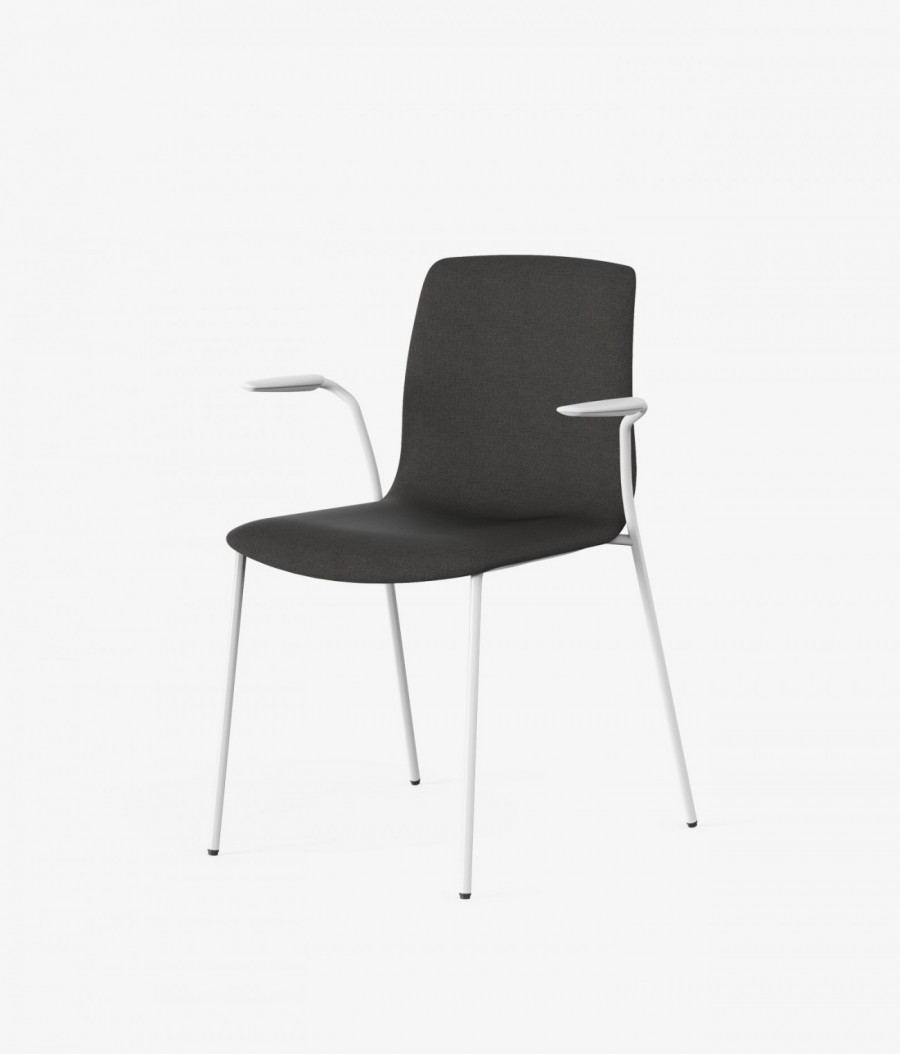 silla blanca tapizado melange perspectiva
