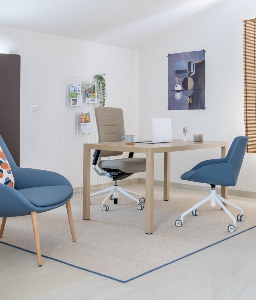 alfombras lana azul